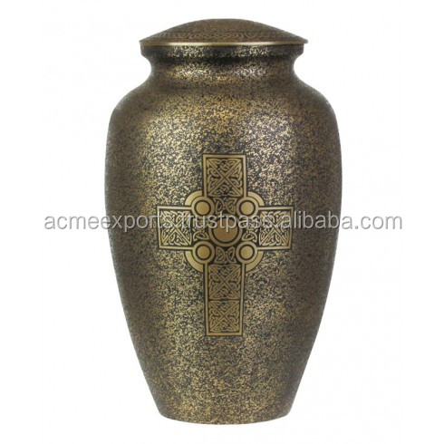 Brass Celtic cross urns for ashes for adults