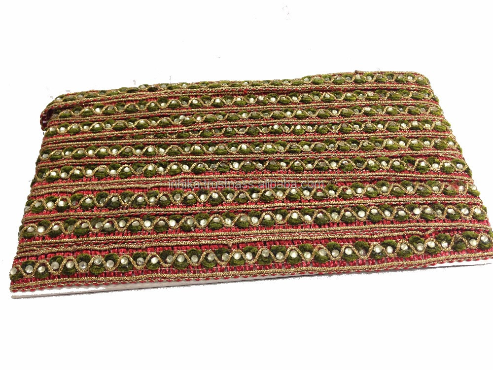9mtr broder trim Thin lace, stones on olive green and maroon velvet material