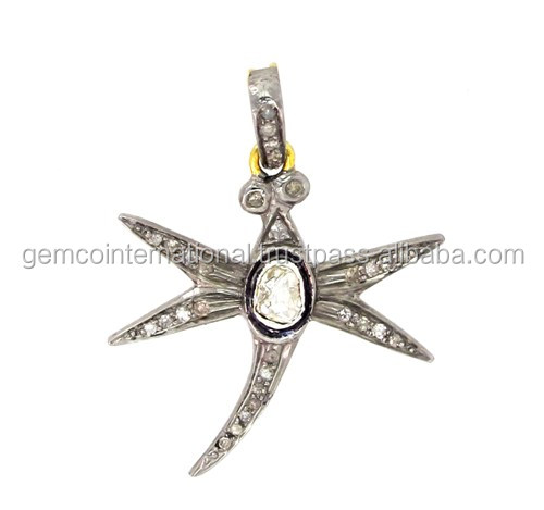 14k Yellow Gold Rose Cut Diamond Star Shaped Butterfly Pendant
