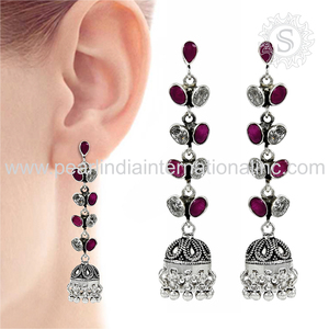Handicraft created ruby & cz gemstone earring 925 sterling silver jewelry wholesaler silver jewelry india