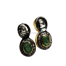 Stunning Emerald_Topaz Gold Plated Rhodium Plated 925 Sterling Silver Studs Earring, 925 Gemstone Jewelry, Silver Jewelry India