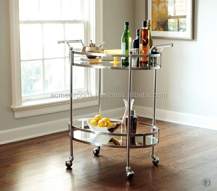 Hotel supplies Beverage trolley high quality barcarts handcarts in stainless steel metal