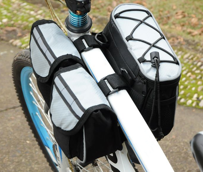 Bicycle Multi-function Frame Top Tube Pannier Bag with Rainproof Cover