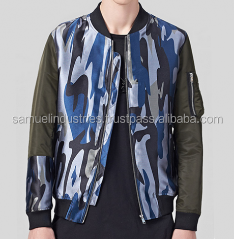 Personality camouflage bomber jacket with zipper for men\woodland camouflage bomber style jacket