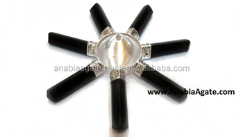 Full Black Tourmaline Agate Energy Generator : with crystal conical pyramid : Anabia Agate Exports