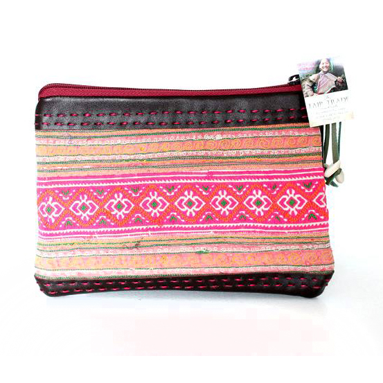 Hmong Hill Tribe Vintage Leather Clutch - Brown