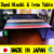 Colorful Laminated Hinoki Wood and Iron Dining Table Made in Japan