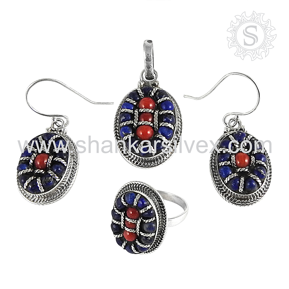 Shining 925 Sterling Silver Jewelry Wholesale. Gemstone Silver Jewelry Set, 925 Silver Jewellery Supplier