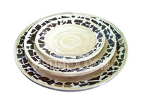 Natural bamboo with coconut plates for home, restaurant, hotel