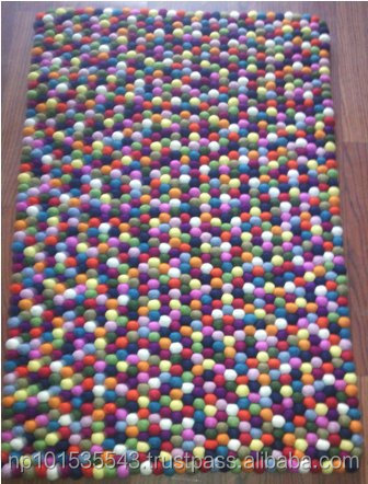 Felt Ball carpets/100% woolen New design Rectangular Felt ball carpet/ felt rug/ Handmade carpet