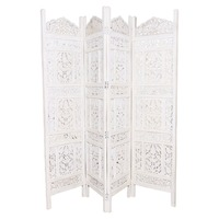 Store Indya White Wooden Screen with Intricate Carvings, Entrance Door Screen