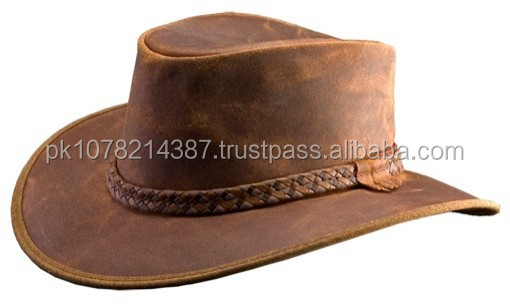 2015 FASHION STYLISH BROWN GENUINE LEATHER TOP HATS WITH COPPER CRUSHER FOR MENS