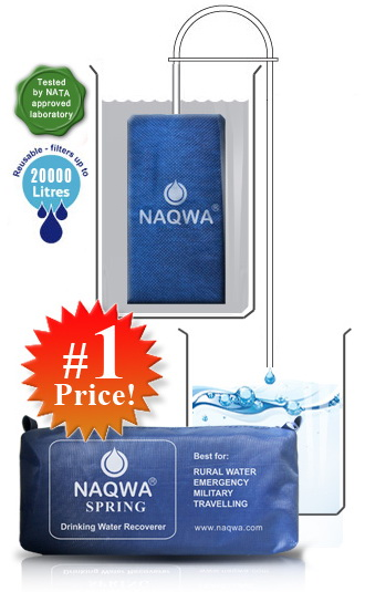NAQWA Survival Emergency Soldier Portable Outdoor Travellers Camping Safe Water Filter Lightest 0 Power