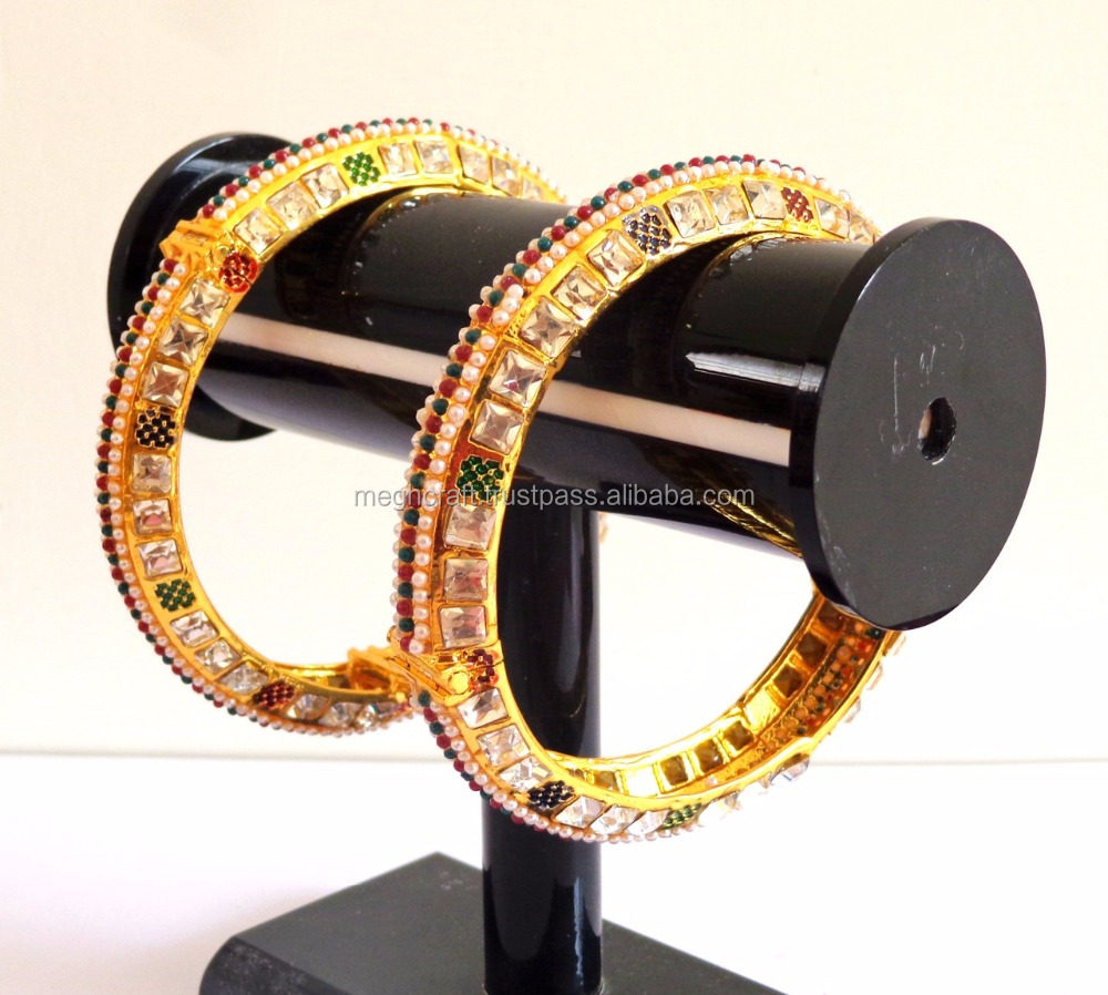 Wedding Wear Choki AD Stone Bangle-Wholesale Pearl Bangle /Kada - 2015 Fancy Bangle Kada-Punjabi Bridal meenakari Kangan