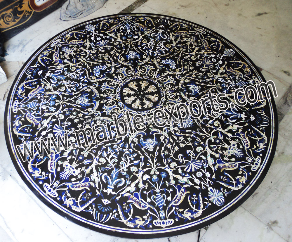 Pietra Dura Black Marble Inlay Mop Big Dinning Table top, Semi Precious Stone Inlay