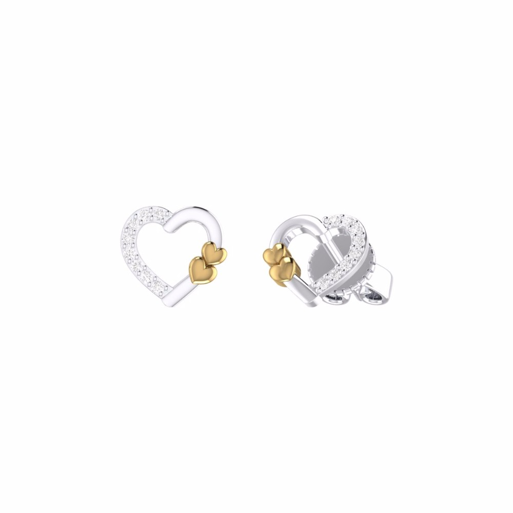 Both White and Yellow Gold Special Heart Shape Design Earrings Saudi Gold Jewelry