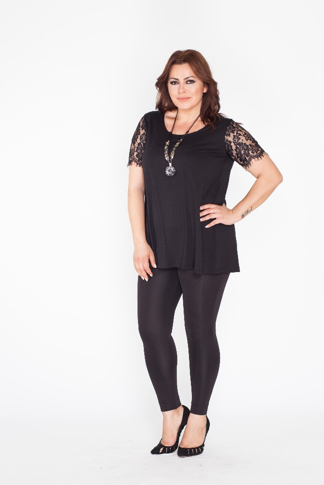 Summer Trends Wholesale Plus Size Black Tunic with Lace Short Sleeve