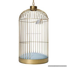tall antique fancy shiny metal bird cage