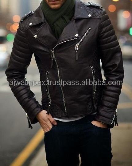 rock design with font zip,pocket zip,side zipper leather jackets