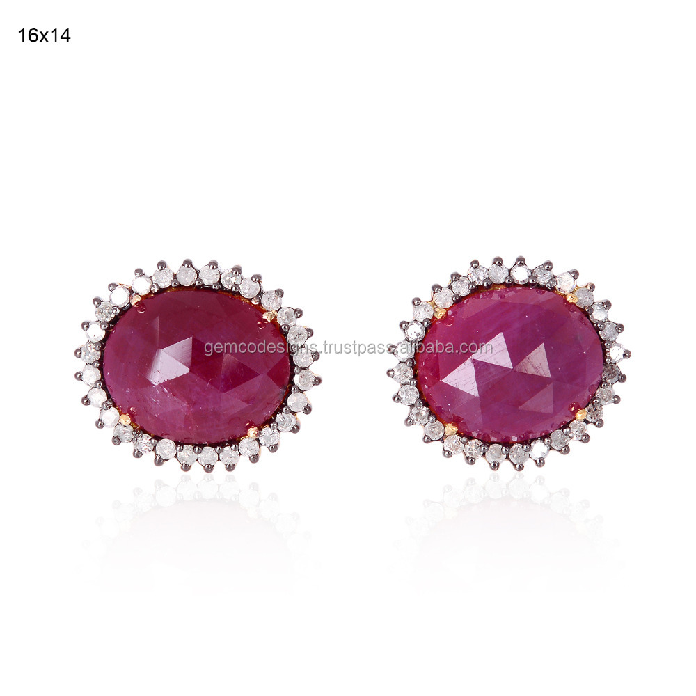 18kt Gold Silver Ruby Diamond Designer Stud Women Earring Anniversary Jewelry