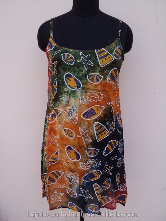 Ladies party wear sun dresses & short gowns / Viscose fabric tie dye printed beach sun dress