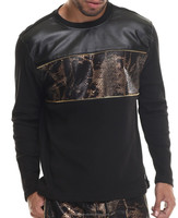 snake skin leather fashion long sleeves t shirt