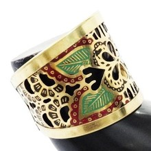 Gold Tone Enamel Floral Cut Design Adjustable Party Wear Cuff Bracelet Fashion Antique Jewelry Gift India