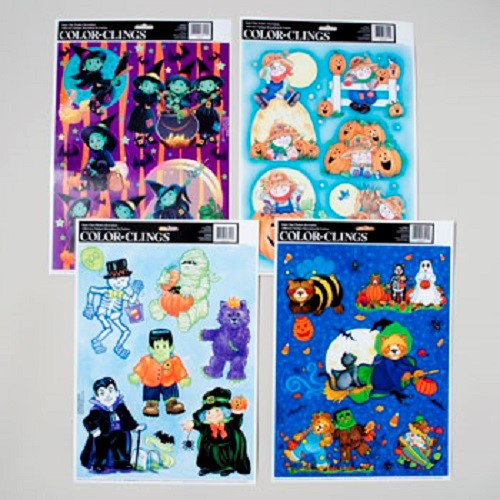 HALLOWEEN WINDOW CLINGS 4 ASSORTED #6480000