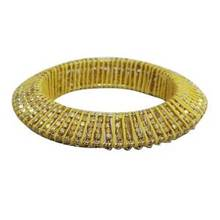 Gold Tone Yellow Thread Beaded Bangle Bracelet Women Fashion Jewelry Size 2*10 ASB565