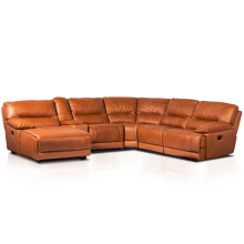 Leather contemporary theater relax comfortable recliner corner L shape sofa set in american style CORNER LUX coffee, brown