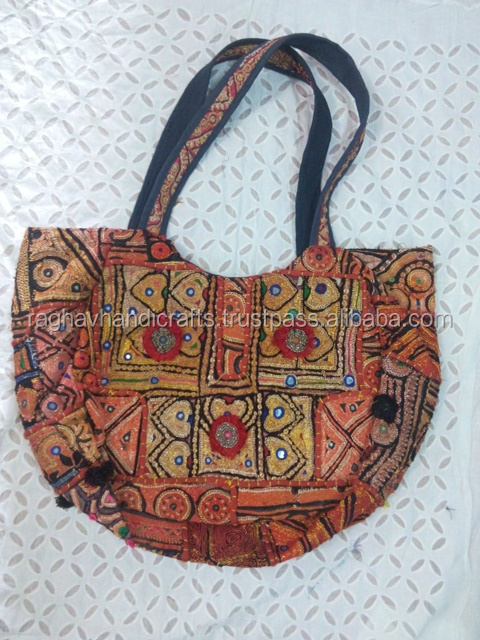 Indian Hand Embroidery Cotton Suzani Bag Pu Leather Bag Summer Shopper Bag