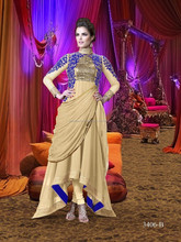 Palegoldenrod color with blue rich embroidery flip over zari neck designer Semi Stitch Salwar Kameez