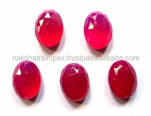 Hot Pink Calcidony Oval Checker Cut Loose Gemstone