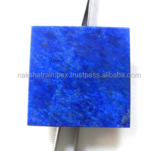 Natural Lapis Lazuli Flat Square Smooth Slab Loose Gemstone