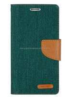 PU leather phone case Mercury Canvas diary PU leather case (Green Camel)