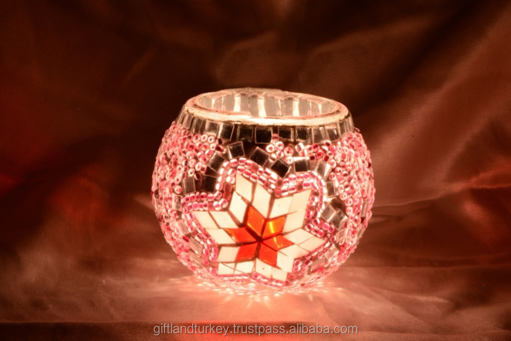 Eastern Culture Glass Mosaic Candle Holders