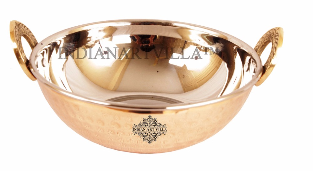 IndianArtVilla High Quality Steel Copper Serving Kadhai Kadai Karahi Wok - Serving Indian Food Home Hotel Restaurant