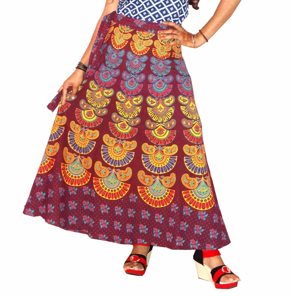 Rajasthani Red Color Multi Print Wrap Skirt For Ladies