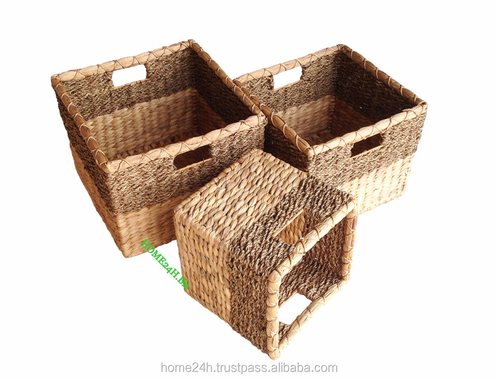 Best selling Home basket Best selling Vietnam craftsNatural wicker basket, Hyacinth Handmade Laundry Basket - Made in Vietnam