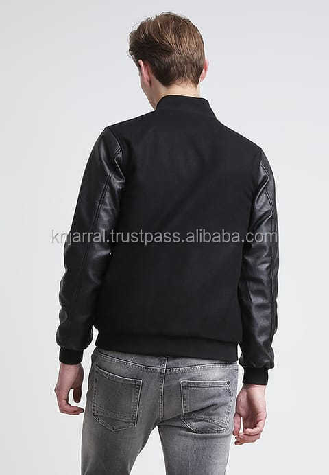 Black Faux Leather Sleeves dark colour varisty