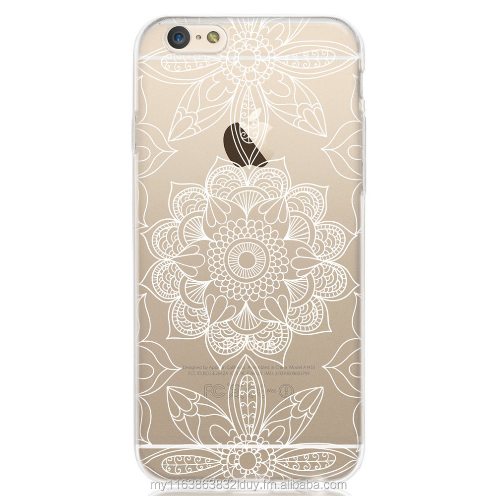 Printed White Outline Mandala Patterned Design Soft cover TPU case