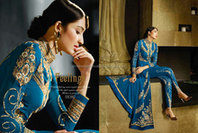 Entrancing Blue Embroidered Work Georgette Designer Suit/girls stylish suit/wholesale suit