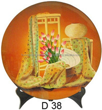 Hot selling 2015 lacquer dish with stand/ lonely Vietnamese women beside the table and chair/ lovely gift from handmade Vietnam