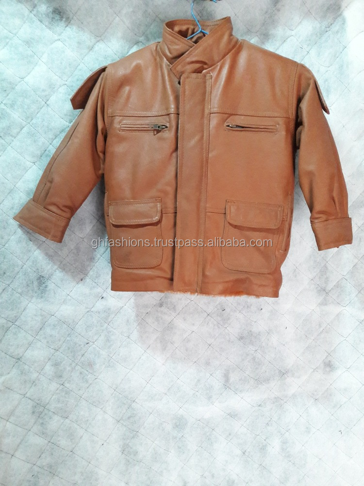 Designer Genuine Leather Kids Jacket 2017