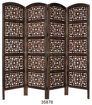Sheesham Wooden Carved Screen Dressing Room Divider 4 Panel Antique Finish India