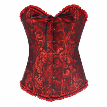 Women Black Red Floral Lace Satin Gothic Lolita Burlesque Overbust Corset
