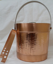 Stainless steel copper plated ice bucket with metal tong