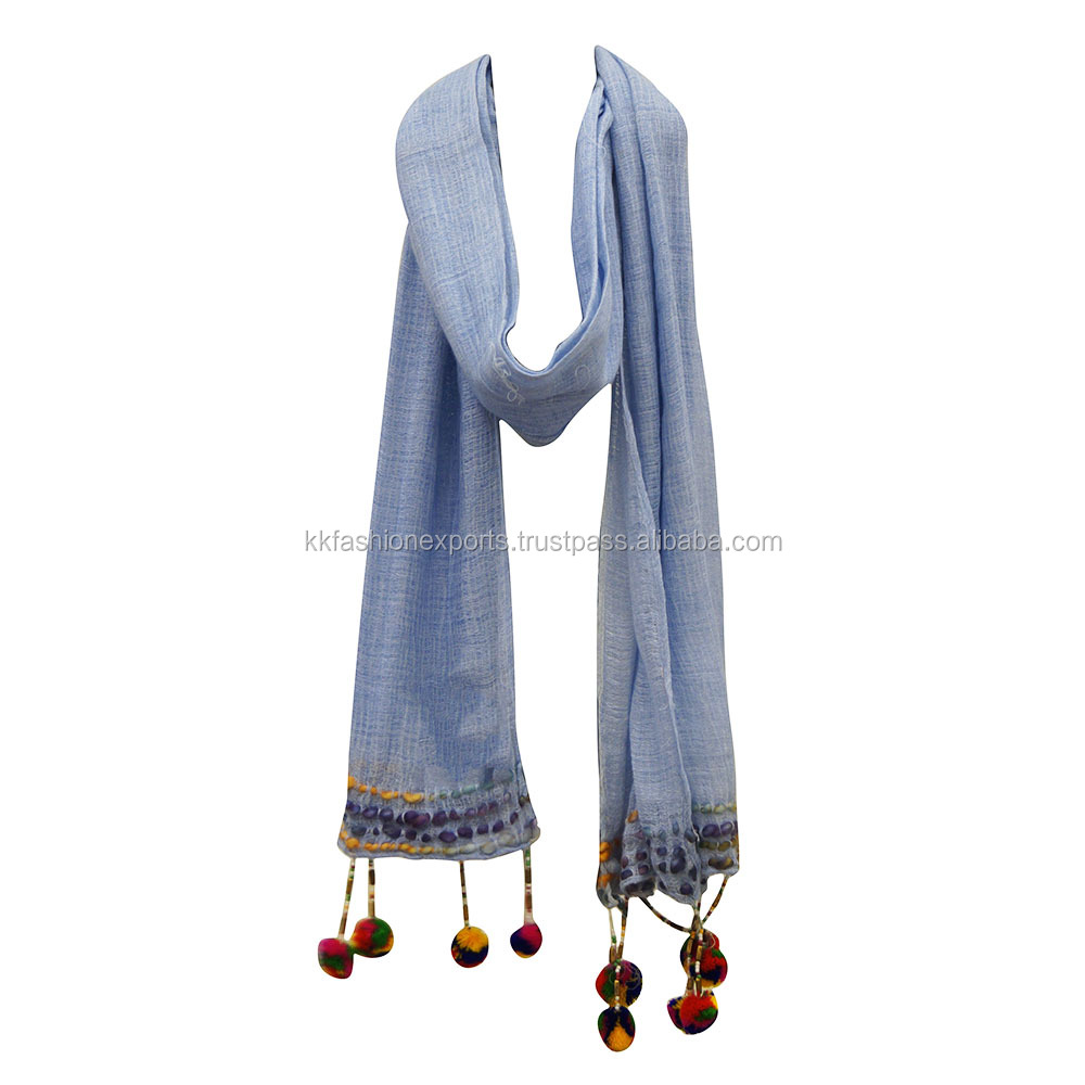 50% Cotton 50% viscose embroidery scarf women with multi color pom pom