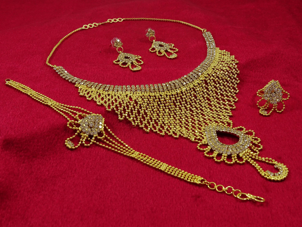 Indian Goldplated Women 4PC Necklace Set Ethnic Traditional Bollywood Jewelry IMRB-BNG69A