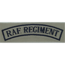machine embroidery badges RAF Regiment Shoulder Title Tropical Pattern Dark Blue On Sand Woven Air Force Branch Badge